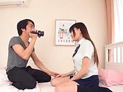 Long-haired Japanese schoolgirl Amano Miyuu gets a nice handwork