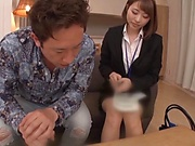 Gorgeous office lady flirts with a dude and gets fucked nastily