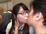 Nerdy teen girl in glasses Amano Miyuu fucked in a MMF action
