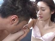Tiny tits lady Uehara Mizuho loves giving a steamy head