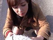 Sensual Sakura Miyuki spreads to show her tight hairy cunt