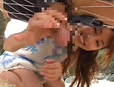Ayami Shunka ,pleasures a dude on the beach