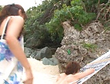 Ayami Shunka ,pleasures a dude on the beach picture 13