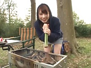 Hasegawa Rui delivers a steamy blowjob outdoors