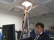 Sexy office lady Yuna Ema teases a horny stud in the office