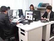 Hot Asian milf Aya Kisaki in raunchy office sex scene