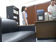 Horny Asian milf loves getting freaky in the office