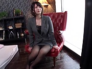 Office lady in stockings likes sex toys