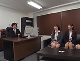 Classy office ladies from Tokyo arrange a nasty gangbang action picture 11
