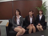 Classy office ladies from Tokyo arrange a nasty gangbang action picture 12