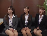 Classy office ladies from Tokyo arrange a nasty gangbang action picture 13