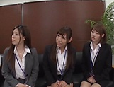 Classy office ladies from Tokyo arrange a nasty gangbang action picture 14