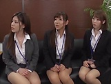 Classy office ladies from Tokyo arrange a nasty gangbang action picture 15