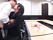 Office babe tries kinky fuck at  work with her boss