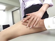 Naughty office lady gags on a bulging shaft