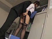 Busty honey pleasures a stiff schlong