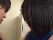 Cute Asian office lady Eri Itou strokes hard cock