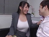 Hot office lady with big tits, insane sex at work