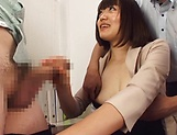 Sensual handjob session involving hot milf Suzuki Risa picture 7