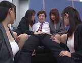 Stunning office babes in hot Japanese group shag