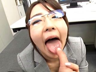 Tokyo office lady Shirasaki Yuzu blows a dick for a pov video