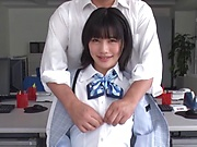 Schoolgirl swallows after a good office fuck
