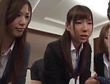 Three mischievous office chicks seduce a guy and lick his body picture 12