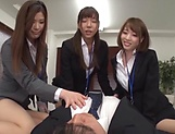 Three mischievous office chicks seduce a guy and lick his body picture 15
