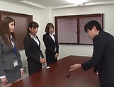 Three mischievous office chicks seduce a guy and lick his body
