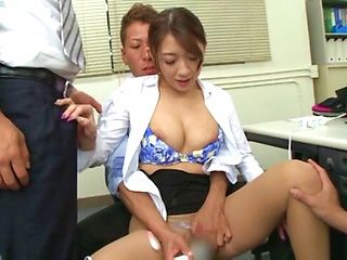 Ria Jashii insane group sex at work with her colleagues
