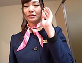 Stunning flight attendant sucks cock of a passenger