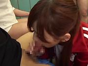 Aine Maria chokes on her teacher's cock
