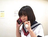Kinky schoolgirl performs a senaul blowjob