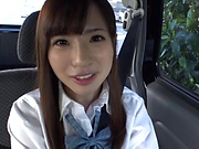 Cute teen Sazanami Aya enjoys kinky car sex