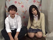 Japanese schoolgirl enjoys cock sucking