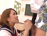 Kinky AV model in a school uniform Shiina Sora fucked in a public place picture 14