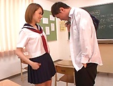 Kinky AV model in a school uniform Shiina Sora fucked in a public place picture 1