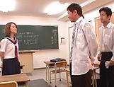 Kinky AV model in a school uniform Shiina Sora fucked in a public place