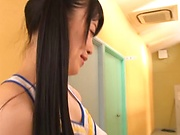 Schoolgirl is giving amazing blowjobs