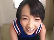 Naughty schoolgirl gets jizzed on