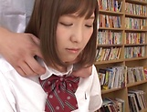 Mogami Kasumi in heats enjoys a big dildo in her cherry picture 14