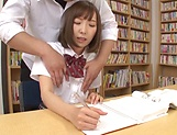 Mogami Kasumi in heats enjoys a big dildo in her cherry picture 15