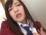Kinky schoolgirl Sakura Miyuki enjoys teasing her puffy clit picture 14