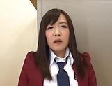 Kinky schoolgirl Sakura Miyuki enjoys teasing her puffy clit
