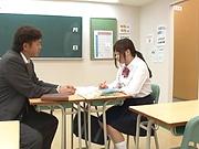 Naughty Asian schoolgirl Sakura Rima has cock in her hands
