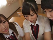 Sweet schoolgirls fucked her classmate