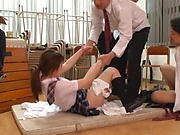 Shameless Japanese schoolgirl Arihana Moe gets gangbaged hard