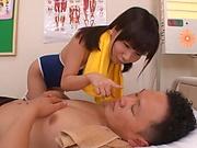 Petite schoolgirl is giving a blowjob