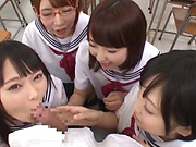 Steamy gangbang with Tokyo schoolgirs hardcore fucking