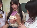 Hot Japanese schoolgirls in a gang bang picture 11
